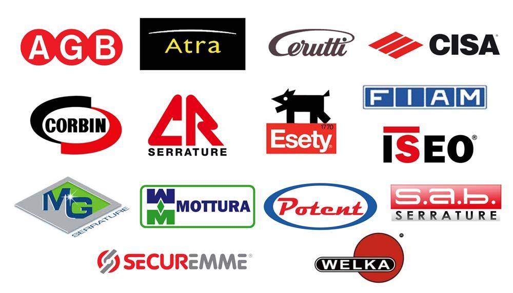 Iseo, Mg, Mottura, Potent, Sab, Securemme, Welka, Agb, Atra, Cisa, Cr, Corbin, Cerutti, Esety, Fiam